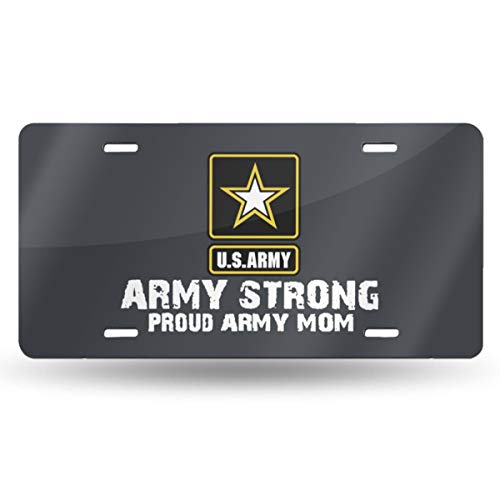 European Gift Bar Star - KZANSUI Personalized 6x12 Inches License Plate Tin Sign Novelty Car Tag Plates for Front of The Car Metal Plaque (Army Star Proud Army Mom)