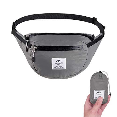 Naturehike Lightweight Waist Bag, Fanny Pack/Waist Packs Adjustable Belt Strap Runner, Cyclist,Hiking Outdoor Sports (2L Gray)