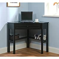Black Wood Corner Computer Desk with Drawer Makes a Workspace Out of Any Corner, No Matter How Small by Simple Living
