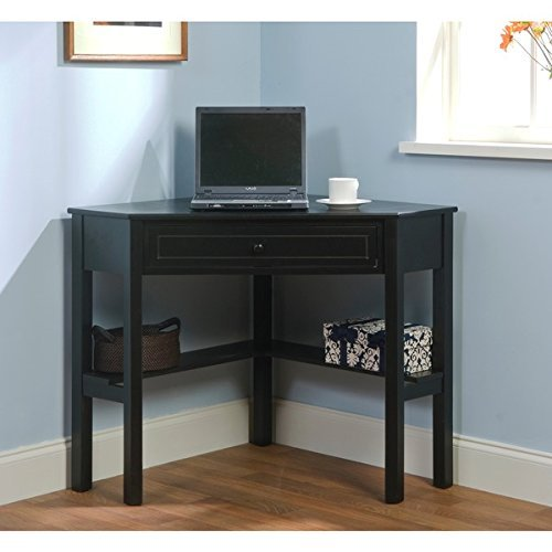 Black Wood Corner Computer Desk with Drawer Makes a Workspace Out of Any Corner, No Matter How Small by Simple Living by Simple Living Products