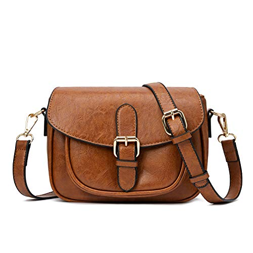 Small Purse Vintage Satchel for Women PU Leather Cover Hasp Crossbody Bag and Saddle Shoulder Bag with Long Adjustable Strap ()