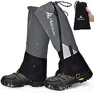 Hikenture Leg Gaiters with Waterproof Zipper, Anti-Tear Water-Resistant Hiking Gaiters, Breathable Shoe Gaiter