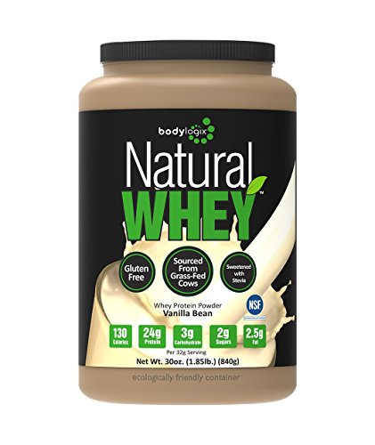 Bodylogix Natural Grass-Fed Whey Protein Powder, Vanilla Bean, 1.85 Pound