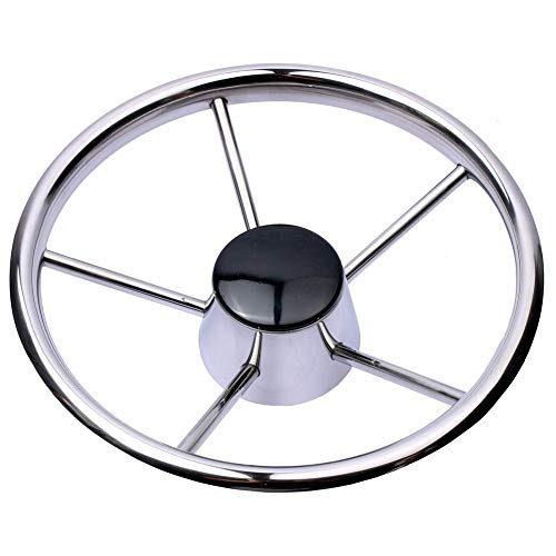 - Hoffen Destroyer Style Stainless Steel 11 Inch Steering Wheel Black Cap 5 Spokes,Fits for Marine Yacht Seastar & Verado