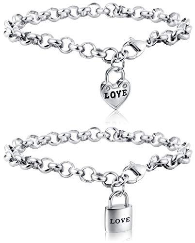 ORAZIO 2PCS Charm Bracelets for Women Men Stainless Steel Heart Lock Love Link Friendship BFF Bracelets