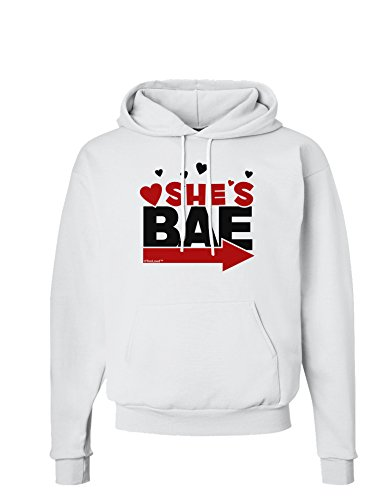 TooLoud She's BAE - Right Arrow Hoodie Sweatshirt - White - 2XL