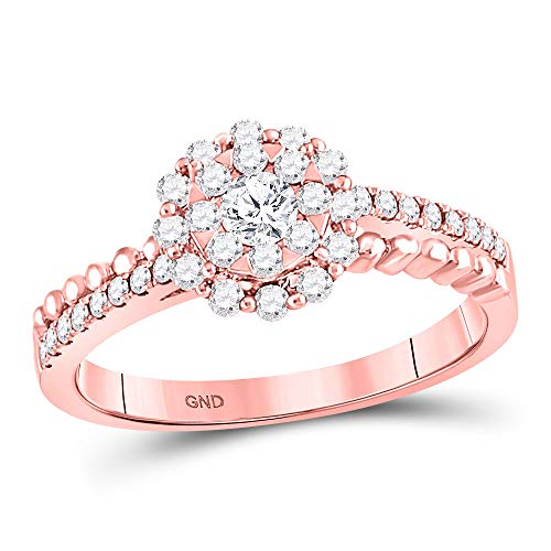 (Dazzlingrock Collection 14kt Rose Gold Womens Round Diamond Solitaire Beaded ridal Wedding Engagement Ring 1/2 Cttw)