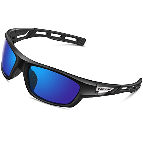 Torege Polarized Sports Sunglasses for Men Women Cycling Running Driving Fishing Golf Baseball Glasses EMS-TR90 Unbreakable Frame TR007 (Black&Black&Blue lens)