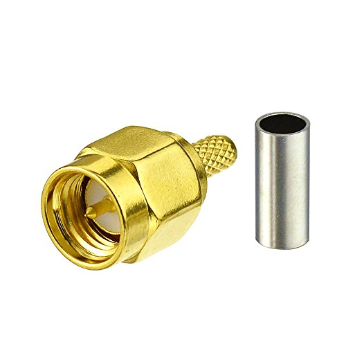 Rg174 Connector - Eightwood 10pcs SMA Male Crimp RF Connector Gold-plating for RG316 RG174 Cable
