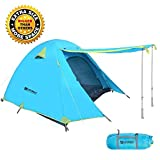 Weanas Professional Backpacking Tent 2 3 4 Person 3 Season Weatherproof Double Layer Large Space Aluminum Rod for Outdoor Family Camping Hunting Hiking Adventure Travel (Extra Size Azure, 1-2 Person)