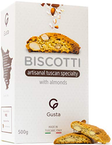 Gusta Authentic Biscotti Made in Tuscany, Italy - Classic Almond - Delicious, Crunchy, Handmade - Original Two Bites Size - All Natural Ingredients - Fresh & Genuine Italian Dessert Treats - 17.64oz