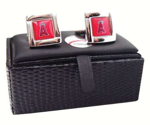 (aminco MLB LOS Angeles Angels Square Cufflinks with Square Shape Logo Design Gift Box)