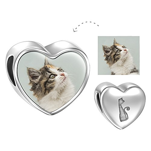 SOUFEEL Personalized Photo Charm Heart Charms 925 Sterling Silver Charms Customized Cat (Personalized Photo Locket)