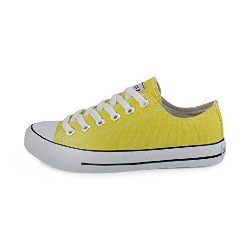 Best-botas para mujer zapatilla zapatillas zapatos de cordones estilo deportivo Giallo (yellow d.c.)