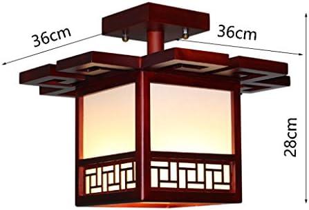 Ywyun Lámpara de techo de madera sólida antigua japonesa, lámpara de techo ahorro de energía moderna minimalista del dormitorio cuadrado del pasillo del LED: Amazon.es: Hogar