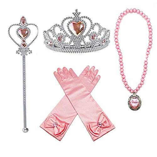 Jashem Belle Princess Crown Wand Necklaces Gloves Tiara Birthday Gift Xmas Presents for Girls (Pink)