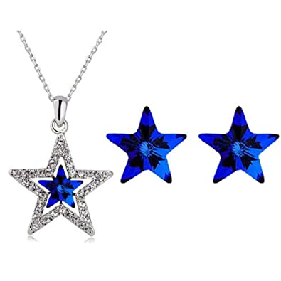 amazon sterling glass light silver crystal wire pendant wrapped dp swarovski necklace star com blue