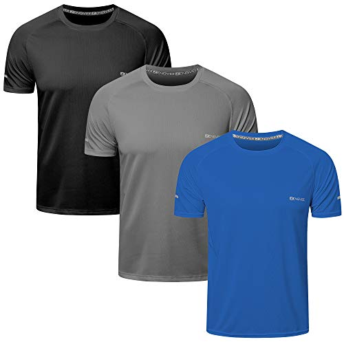 KAMINAM Men's 3 Pack Workout Shirts Quick Dry Short Sleeve Athletic Sports T-Shirts for Workout,Running,Training