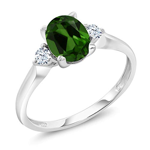 Gem Stone King 10K White Gold 1.30 Ct Green Chrome Diopside White Created Sapphire 3-Stone Ring (Size 7)