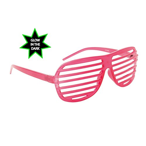 FancyG® Classic Cool Fun Shutter Style Costume Party or Daily Spectacle Glow in the Dark Novalty Sunglasses Frame Unisex Eyewear - Hot Pink