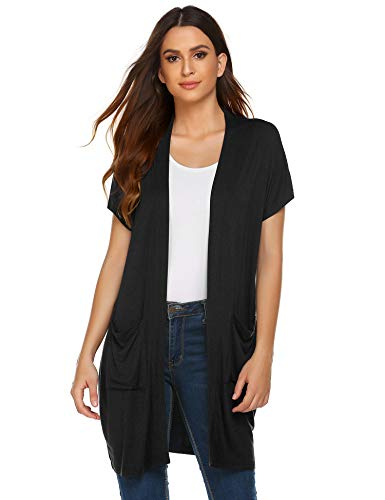 (Zeagoo Women Short Sleeve Open Front Long Cardigan Sweater Vest Pocket Black)
