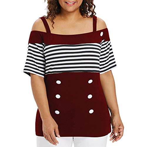 kaifongfu New for Ladies Blouse Women Tops Plus Size Off Shoulder Striped Short Sleeve Button T-Shirt Plus Size ()