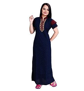 156cd0b1bc TRUNDZ Women s Cotton Full-Length Nighty (Blue