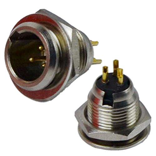 CESS-xlr04 3-Pin Mini XLR Cable Male Connector Adapter For Mic Microphone - Mini XLR Socket,3 Pin - 2 ()