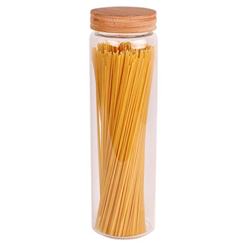 Spaghetti Container Storage, 12 inch Tall Airtight Glass Food Pasta Canisters/Jars with Lids, BPA-Free Cereal Dispenser for Kitchen Corner