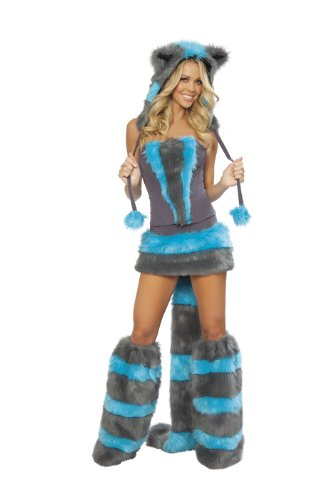 J. Valentine Women's Chester Cat Costume Skirt and Corset, Blue/Grey, (Burning Man Cat Costume)
