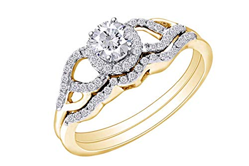 Wishrocks Round Diamond Bridal Wedding Engagement Ring In 14kt Yellow Gold Band Set 3/8 Cttw Ring Size-4 ()