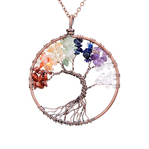 - sedmart Four Seasons Tree of Life Pendant Wire Wrapped Wisdom Ancient Copper Necklace Gemstone Chakra Jewelry