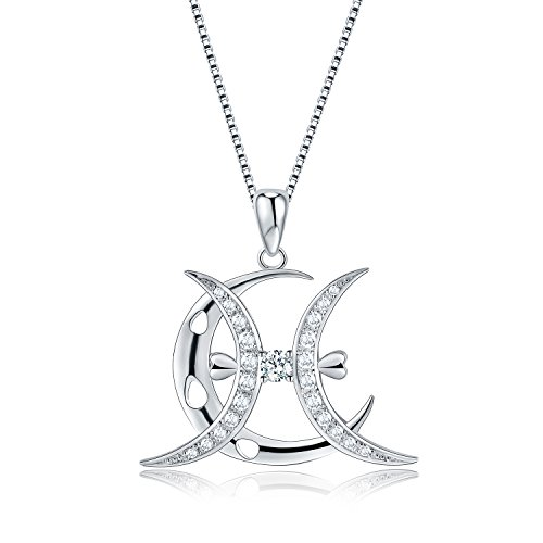 Moon Horoscope Signs of Zodiac Pendant Necklace with Cubic Zirconia, Fashion Constellation Jewelry, 18