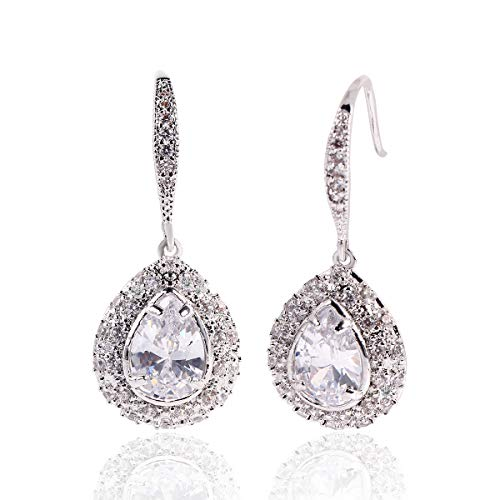 Pear Shaped Crystal - Teardrop Dangle Earrings for Women - Sterling Silver Bridal Pear-shaped Crystal Cubic Zirconia Rhinestone Drop Earrings for Wedding Party Prom Bride Bridesmaid Mother of Bride