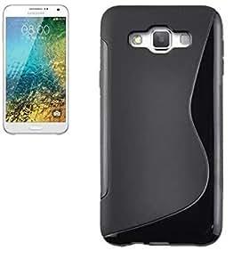 ESI Black S Line Soft TPU Gel Case Cover Skin For Samsung galaxy E7 With Screen Guard