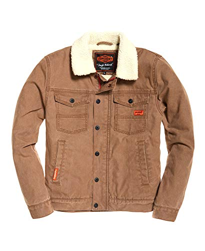 Superdry Mens Hacienda Chore Coat Washed Tabacco Canvas M (Superdry Mens Leather Jacket)