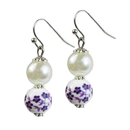 Purple Floral Porcelain Simulated Pearl Beads Dangle Drop Earrings