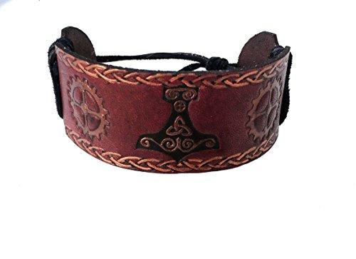 [Steampunk Viking Personalized Leather Bracelet Cuff for Men] (Wild Flower Child Hippie Costume)
