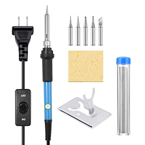 Soldering Iron Kit, [Upgraded] 60W Adjustable Temperature Welding Tool with ON-Off Switch, Rarlight 9-in-1 Soldering Kits, 5pcs Soldering Iron Tips, Solder Wire, Y Type Soldering Iron Stand