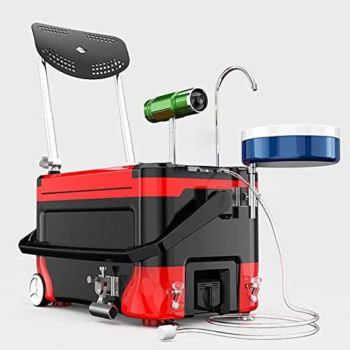 釣りボックス 釣りボックスチェア、ナイトライト新しい屋外多機能釣りバケツのフル装備の釣りボックスレッド タックルボックス (Color : Red, Size : One size)