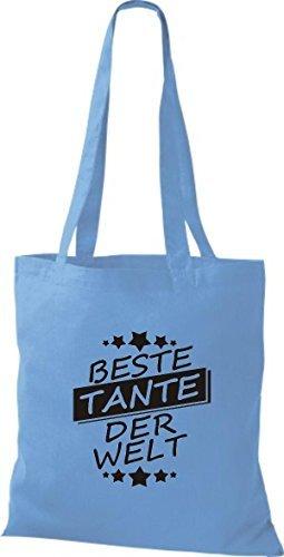 ShirtInStyle Bolso de tela Bolsa de algodón Mejor TANTE der Welt azul claro