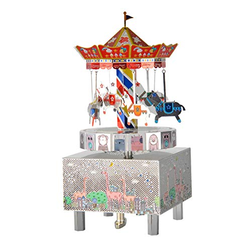 Microworld 3D Metal Puzzle Music Box Carousel Merry-go-Round Model Building Kit DIY Xmas/Birthday Gift (Its a Small World)