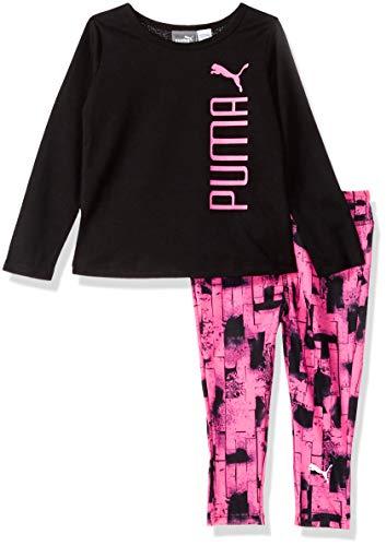 PUMA Baby Girls' Top and Legging Set, Black, 12M