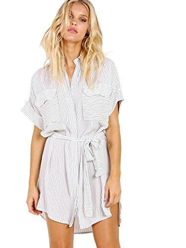 Faithfull the Brand Women's Wovens Shirt Dress Swim Cover Up Faraway Stripe S by Faithfull