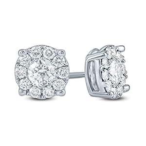 Revere Women's 18k Solid White Gold Stud Earrings, White