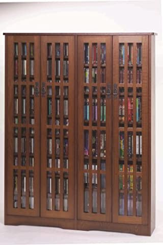 Leslie Dame Double CD,DVD Wall Rack Media Storage in Walnut (Cd Cabinet Mission)