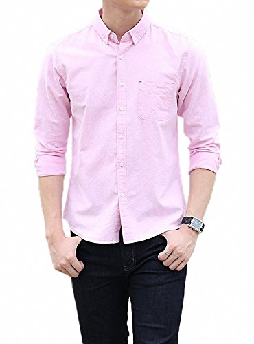 用心する負担序文LOYEE yシャツ 長袖シャツ メンズ オックスフォード ボタンダウン ワイシャツ 無地 春 秋 スリム ビジネス カジュアル M04