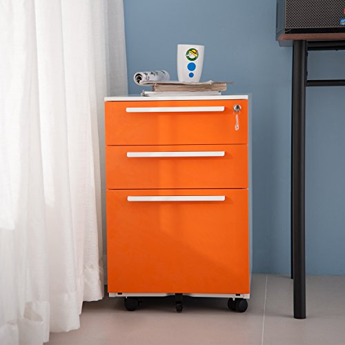 Merax 3 Drawer Mobile File Cabinet Metal Solid Storage File Cabinet with Keys (orange) - Assemble Steel Storage Cabinet