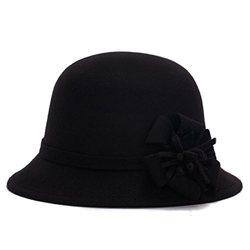 Pierre LaMarreDS Womens Retro Plain Winter Hat Flower Attchment Fedora Bowler Cap