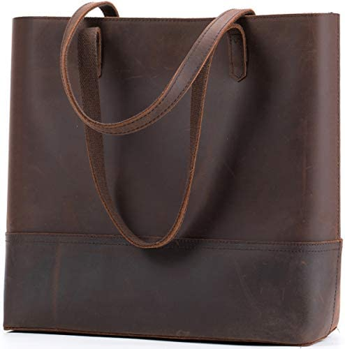 Vintage Leather Tote Shoulder Bag for Women Crazy Horse Leather Handbag Large Capacity Purses and Handbags